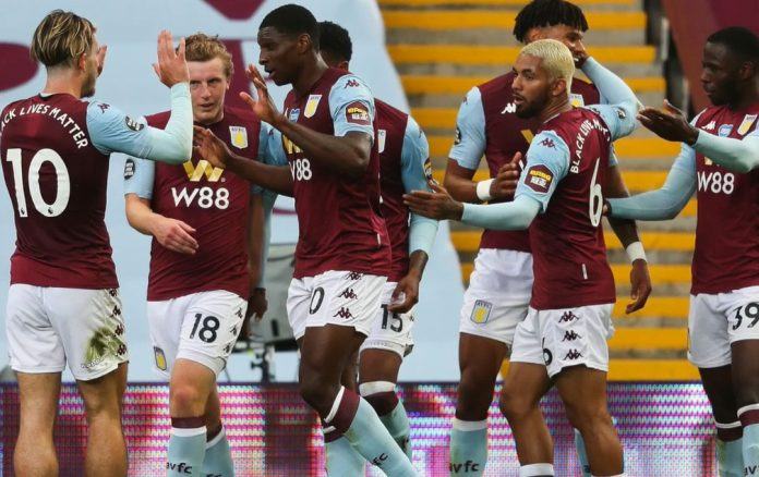 Aston Villa player celebrate