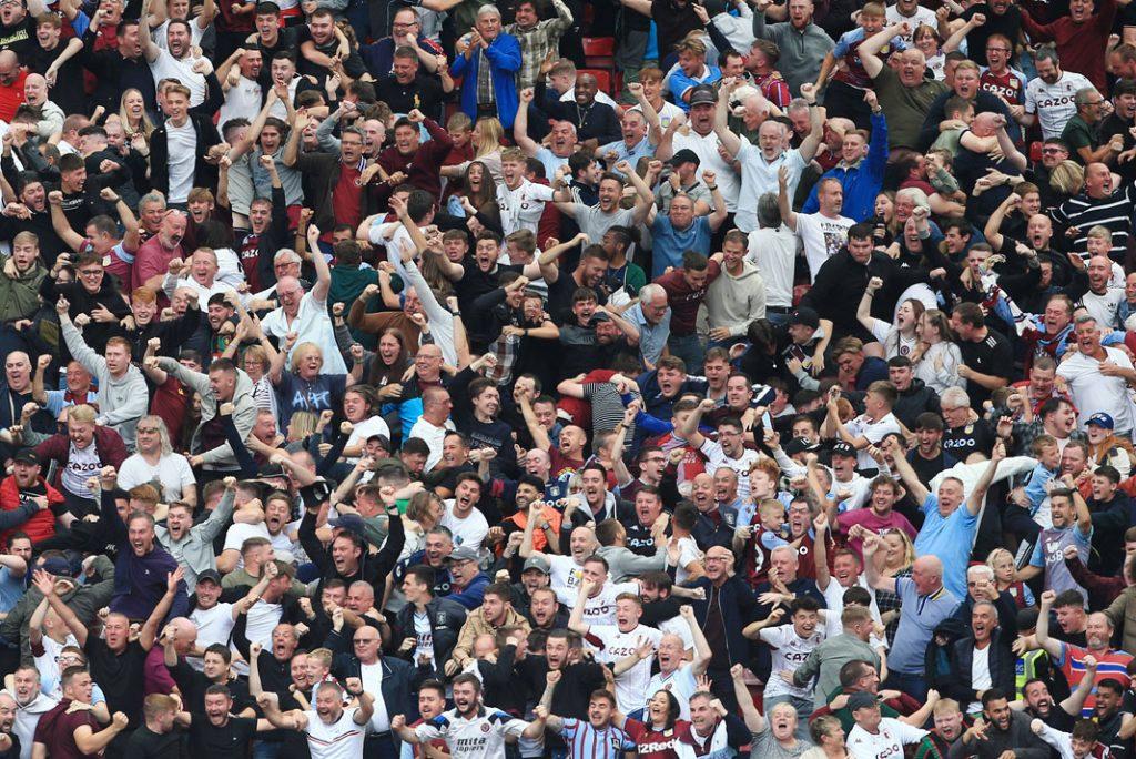 Aston Villa fans celebrate famous win over Man Utd