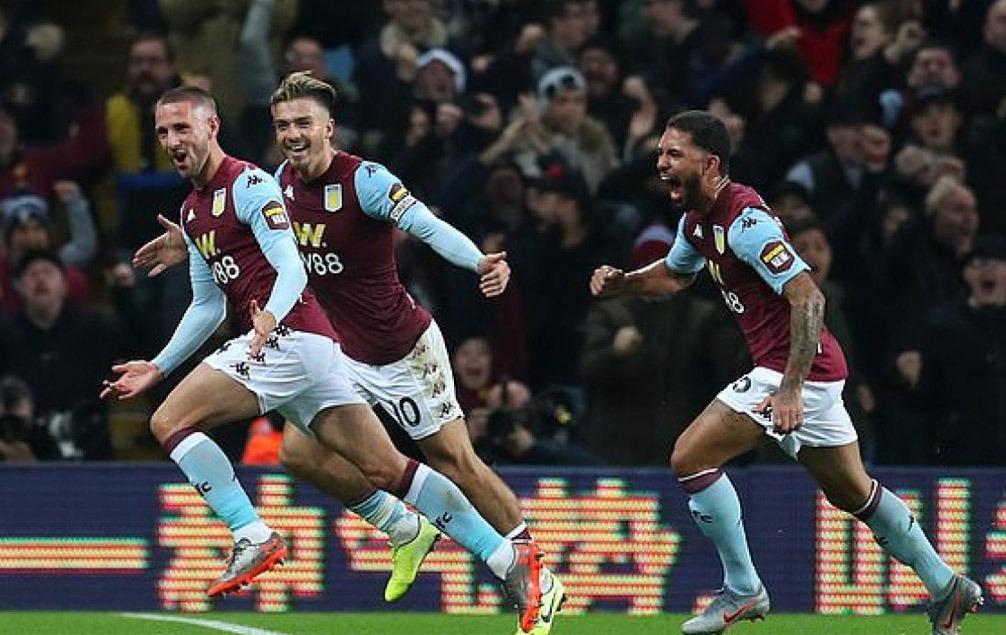 Hourihane celebrates goal for Villa against Newcastle