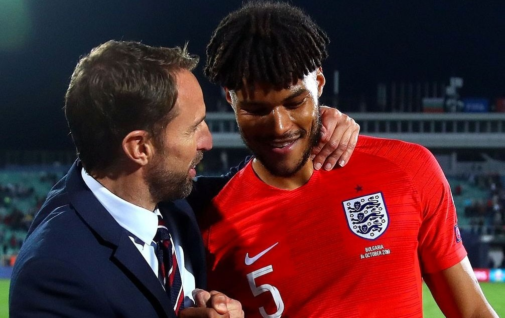 Tyrone Mings with Gareth Southgate on international duty