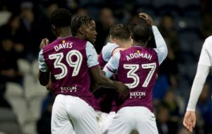 Villa celebrate their opener against Preston.