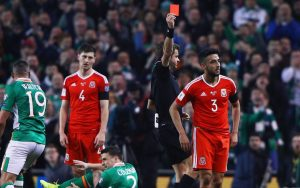 Taylor was sent off for Wales.