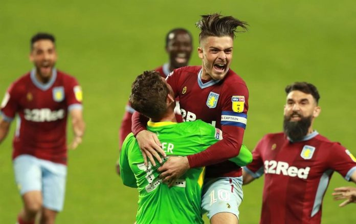 Grealish and Steer celebrate the win over West Brom