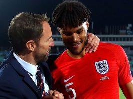 Tyrone Mings with Gareth Southgate on international duty