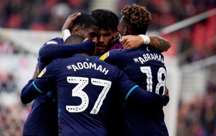 Players congratulate Adomah on his goal against Stoke